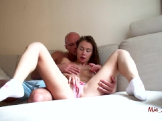 Hot college girl fucked in her tight ass and horny pink pussy. Mia Bandini