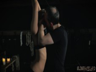 BDSM Teen slave spanked with whip in fetish porn video she swallows cum