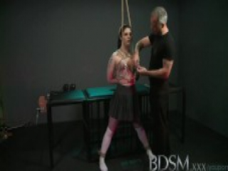 BDSM XXX Black haired sub has breasts tied to the ceiling by her Master before anal hook play