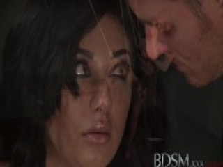 BDSM XXX Sexy sub is suspended and given a leg trembling orgasm