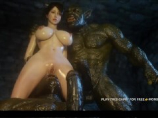 titty pretty woman v.s. ugly big monster 3d trolls, hot game's moment 1