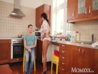 MOM Sexy ebony MILF Kiki Minaj deepthroats and fucks in kitchen